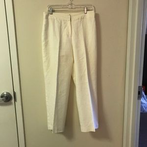 Merona White Linen Straight Leg Ankle Pants Size 8